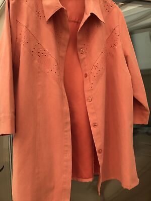 Ladies Size 18 Peach Soft Jacket 3/4 Sleeve .fully Lined • 5£