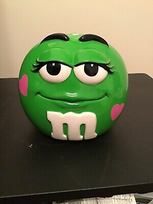 $13.99 • Buy Green With Pink Hearts M&M Collectors Cookie Candy Jar