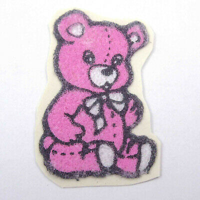 AU6.99 • Buy Vintage 1980s 80s Sticker Fuzzy Flocked Pink Bear Unused
