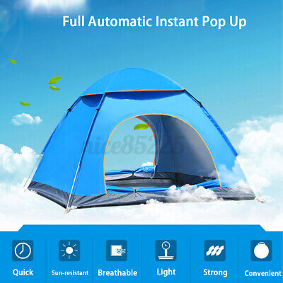 AU125.41 • Buy 3-4 Person Man Instant Run Up Tent Automatic Camping Festival Outdoors