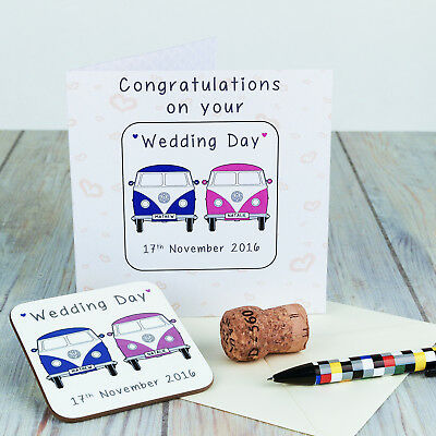 £3.79 • Buy Personalised Coaster Card - VW Campervan Wedding Day - Named Gift