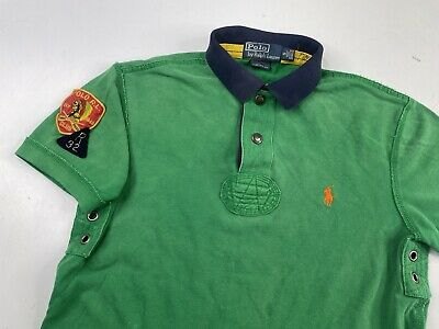 AU19.30 • Buy Polo Ralph Lauren Men Custom Fit Rugby Shirt Patches Indian Head Green Small