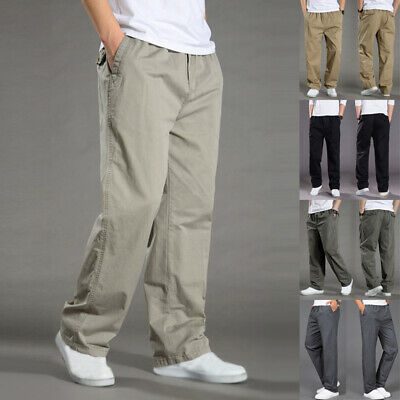 $17.55 • Buy Mens Work Trousers Pockets Cargo Straight Pants Elasticated Stretch Waist M-6XL