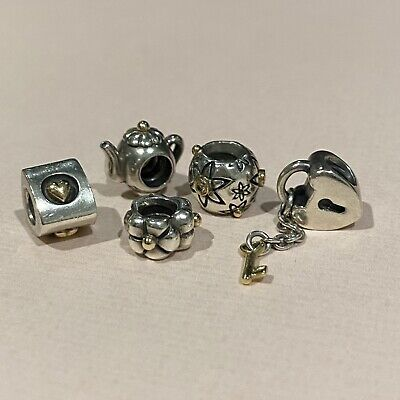 AU65 • Buy Genuine Pandora Charms Silver + 14ct Yellow Gold Retired Discontinued Starflower