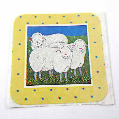 AU8.89 • Buy Vintage 1980s 80s Sandylion Square Sticker Sheep Polka Dot Border Unused