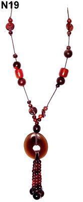 £1.99 • Buy  Oasis  Long Drop Necklace With Brown Wooden And Plastic Beads And Pendant