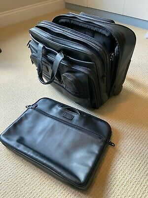 Tumi Wheeled Leather Black Briefcase - Used - Excellent Condition • 85£