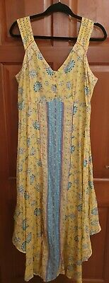 £9.50 • Buy Monsoon Beach Dress Wide Strap Bright Yellow Aqua Teal Coral Floral UK L