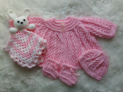 AU40 • Buy Hand Knitted Baby Clothes + Crochet Toy Comforter For A Baby Girl Or Reborn Doll