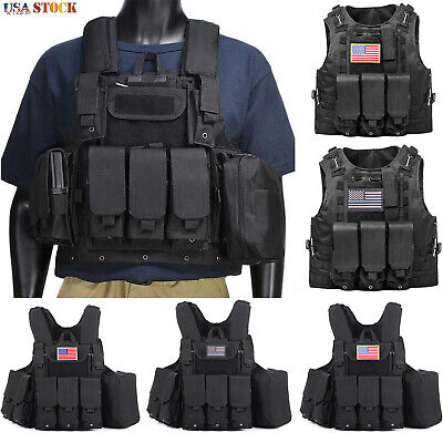 $31.99 • Buy Military Tactical Vest MOLLE Adjustable Combat Assault Hunting Plate Carrier US