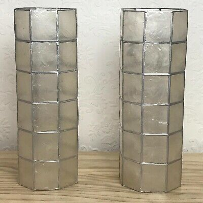 £20 • Buy Capiz Shell Lampshades X2 Tall Cylinder White Pearlescent Wall Ceiling Light Bhs