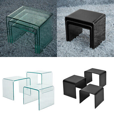Set Of 3 Tempered Glass Nest Of Side Tables For Home Coffee Glass Nested Table • 91.19£