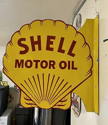 $ CDN477.93 • Buy Large Porcelain Shell Motor Oil Sign 24  X 24  Inch 2 Sided Flange Double Sided