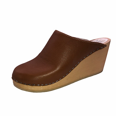 $39.95 • Buy Maguba Womens Size 40 Brown Leather Wedge Heels Mules Slip On Shoes Clogs Slides