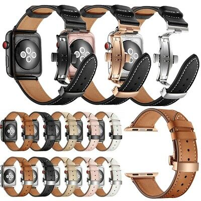 $ CDN36.42 • Buy For Apple Watch Series 6 SE 5 4 3 2 Genuine Leather Butterfly Buckle Band Strap