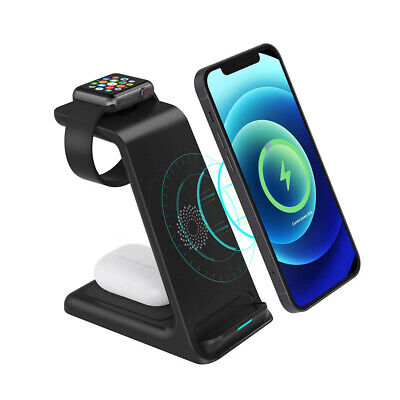 AU27.18 • Buy 3 In 1 15W Qi Wireless Charger Dock Charging Station For Apple IWatch IPhone 12