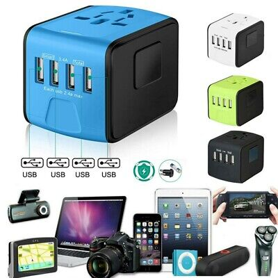 AU18.66 • Buy 4 USB Charger Universal International Power Adapter Travel Plug Socket Converter