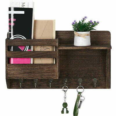$19.90 • Buy Wall-Mounted Mail Rack Holder With 7 Key Hooks Envelope Organizer For Entryway