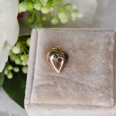 £179 • Buy Antique Edwardian Clover Love Heart 9ct 9K Gold Solid Heart Charm Pendant
