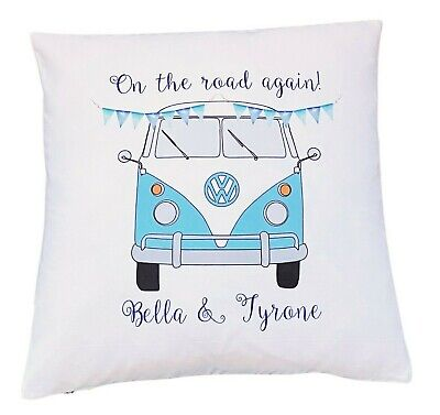 £6.50 • Buy Personalised Light Blue Campervan - 16  Cushion Cover Vintage/wedding/gift