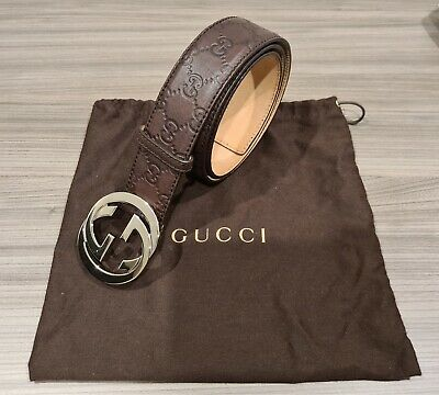 AU210 • Buy Gucci Brown Signature Leather Belt ( Size :90 Women , Silver Buckle)