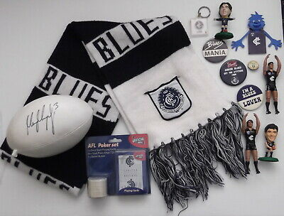 AU29.50 • Buy Carlton Blues AFL Memorabilia Signed Crown Footy - Badges - Scarf & Toy Figures