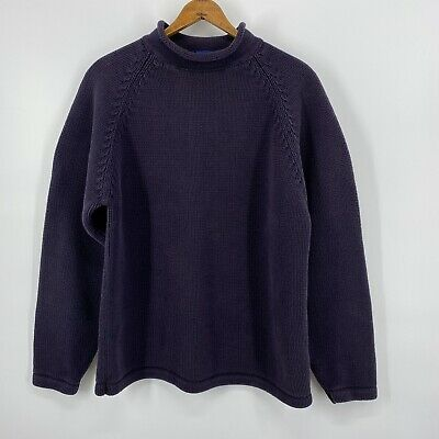 $89.99 • Buy Vintage J Crew Mens Sweater Navy Blue 100% Cotton Fisherman Roll Neck Pullover M