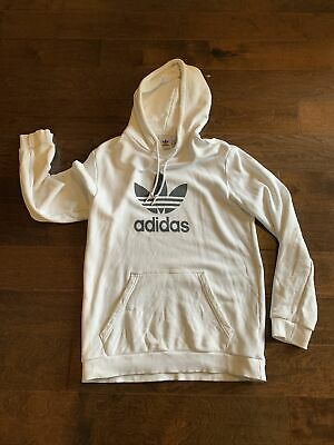 $ CDN12.12 • Buy Adidas Trefoil Hoodie Cotton Blend White Athletic Pullover Sweater Mens Size M