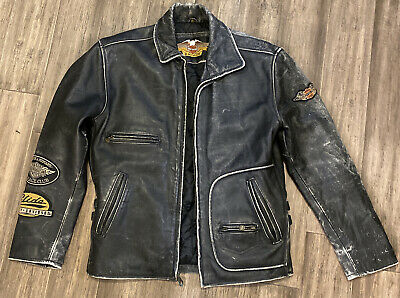 $ CDN182.70 • Buy VTG Harley Davidson Leather  Jacket Mens M Black With Patches Distressed