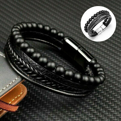 £2.99 • Buy Mens Jewellery Gift Leather Bracelet Chakra Beads Wristband Magnetic Clasp Tool