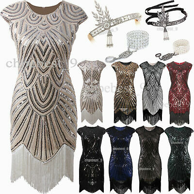 $ CDN56.21 • Buy 1920s Flapper Dress Vintage Style Sequins Beads Tassels Party Evening Dresses UK