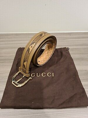 AU195 • Buy Gucci Beige/snakeskin Leather Belt (size:80, Gold Buckle, Width:4cm)