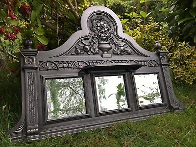 £140 • Buy Antique Victorian Style Cast Iron Mirrored Overmantle Surround Fireplace (QP446)