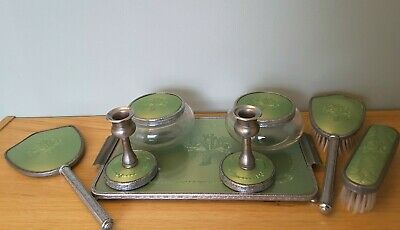 £50 • Buy Dressing Table Vanity Set - Silver Colour With Green Inlays - Mirror  & Brushes
