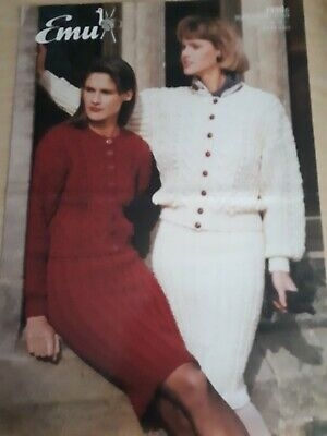 £0.99 • Buy Emu Knitting Pattern 1330. Cabled Jackets And Skirts. Aran Yarn. 28-38  Chest