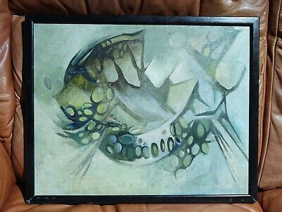£145 • Buy Signed Abstract Oil Painting Vintage Mid Century St Ives