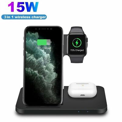 AU29.98 • Buy AU 15W Qi Wireless Charger Dock 3in1 Charging Stand For IWatch IPhone 12Pro 11 X