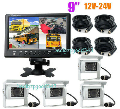 AU257.98 • Buy 4x 4Pin IR Rear View Backup Camera White + 9  LCD 4CH Split Monitor For Bus Truc