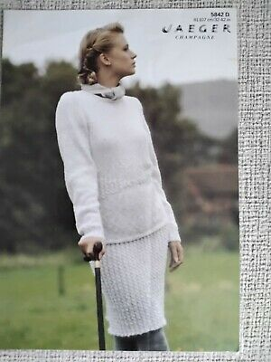 £0.99 • Buy Jaeger Knitting Pattern No 5824. Cable Waisted Sweater & Skirt. DK. 32-42  Bust