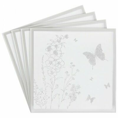 £5.95 • Buy Set Of 4 Butterfly Mirror Square Glass Coasters