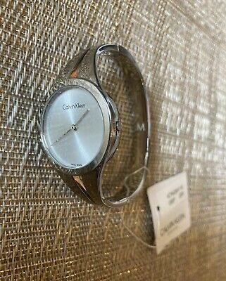 £90 • Buy Womens Calvin Klein Split Bangle Analogue Watch K7W2M116 Silver New RRP £229.00