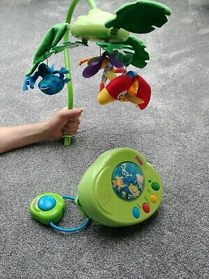 £22 • Buy Fisher Price Remote Controlled Baby Cot Musical Mobile Rainforest