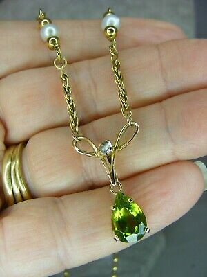 £275 • Buy Edwardian Style Peridot, Diamond, Pearl & 9 Carat Gold Lavalier Pendant Necklace