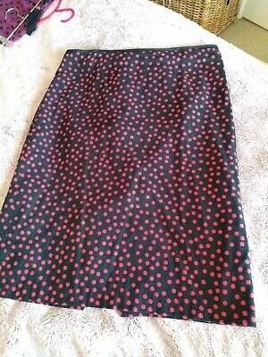 £3.33 • Buy Black And Red Polka Dot Pencil Skirt, Size 16, M&S, Retro/ Vintage