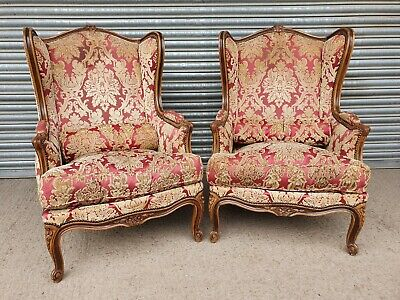 £325 • Buy Beautiful Pair Of French Louis Style Earcap Library Armchairs For Restoration!!