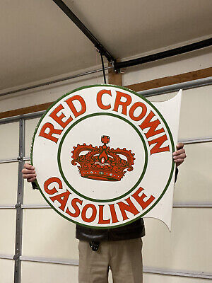 $ CDN482.77 • Buy Porcelain Red Crown Gasoline Enamel Sign SIZE 26  X 26  Inches 2 Sided Flange