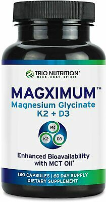 £12 • Buy Trio Nutrition Magnesium Glycinate With K2 D3 Vitamin Chelated MCT Oil 120 Caps