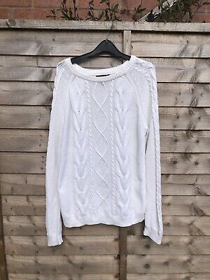 £8 • Buy Forever 21 White Slouchy Knitted Knot Jumper Size M