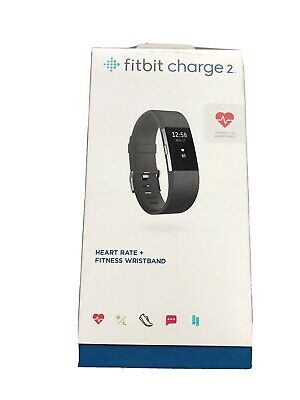 $ CDN42.61 • Buy Fitbit Charge 2  Heart Rate Fitness Black Tracking Wristband In Box