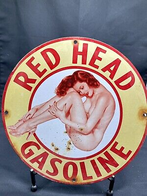 $ CDN156.08 • Buy 1944 Vintage Red Head Porcelain Sign Pin Up Gas Oil Pump Rack Plate Ginger Ford